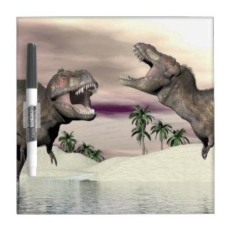 Tyrannosaurus rex dinosaur fight - 3D render Dry Erase Board