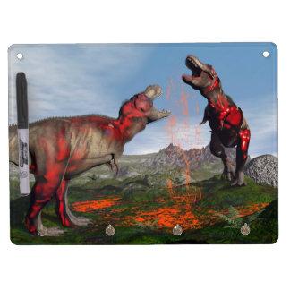Tyrannosaurus rex dinosaur fight - 3D render Dry-Erase Whiteboard