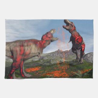 Tyrannosaurus rex dinosaur fight - 3D render Kitchen Towel
