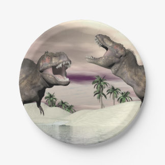 Tyrannosaurus rex dinosaur fight - 3D render Paper Plate