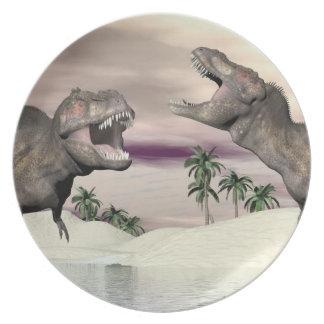 Tyrannosaurus rex dinosaur fight - 3D render Plate