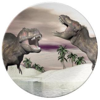 Tyrannosaurus rex dinosaur fight - 3D render Porcelain Plates