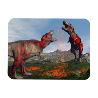 Tyrannosaurus rex dinosaur fight - 3D render Rectangular Photo Magnet
