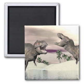 Tyrannosaurus rex dinosaur fight - 3D render Square Magnet