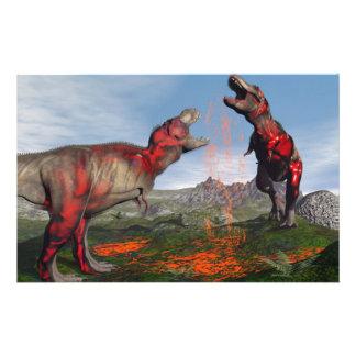 Tyrannosaurus rex dinosaur fight - 3D render Stationery