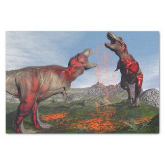 Tyrannosaurus rex dinosaur fight - 3D render Tissue Paper