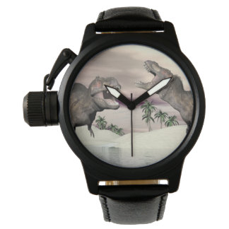 Tyrannosaurus rex dinosaur fight - 3D render Wristwatch