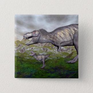 Tyrannosaurus rex dinosaur mum and baby- 3D render 2 Inch Square Button