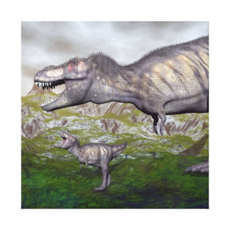 Tyrannosaurus rex dinosaur mum and baby- 3D render Canvas Print