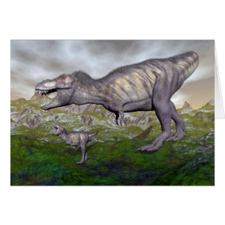 Tyrannosaurus rex dinosaur mum and baby- 3D render Card