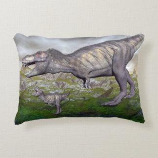 Tyrannosaurus rex dinosaur mum and baby- 3D render Decorative Pillow