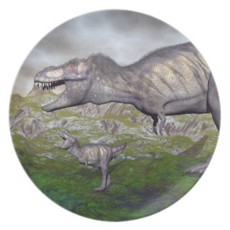 Tyrannosaurus rex dinosaur mum and baby- 3D render Dinner Plate