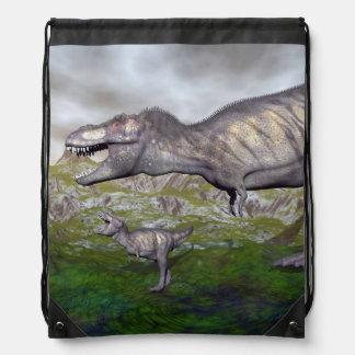 Tyrannosaurus rex dinosaur mum and baby- 3D render Drawstring Bag
