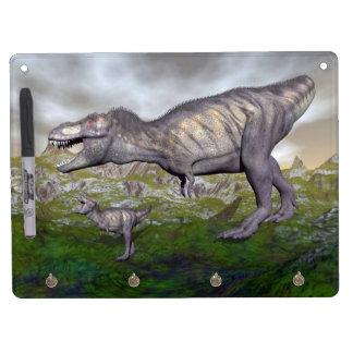 Tyrannosaurus rex dinosaur mum and baby- 3D render Dry-Erase Whiteboard