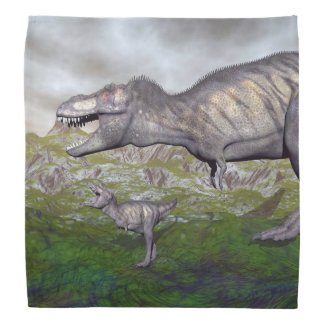 Tyrannosaurus rex dinosaur mum and baby- 3D render Head Kerchiefs