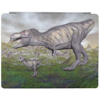 Tyrannosaurus rex dinosaur mum and baby- 3D render iPad Cover