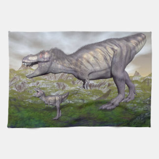 Tyrannosaurus rex dinosaur mum and baby- 3D render Kitchen Towel
