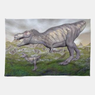 Tyrannosaurus rex dinosaur mum and baby- 3D render Kitchen Towels