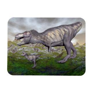 Tyrannosaurus rex dinosaur mum and baby- 3D render Magnet