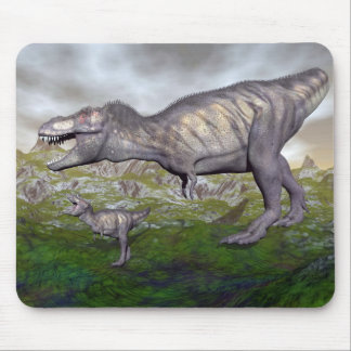 Tyrannosaurus rex dinosaur mum and baby- 3D render Mouse Pad