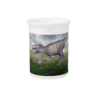 Tyrannosaurus rex dinosaur mum and baby- 3D render Pitcher