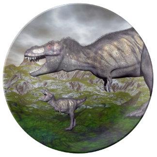 Tyrannosaurus rex dinosaur mum and baby- 3D render Porcelain Plate