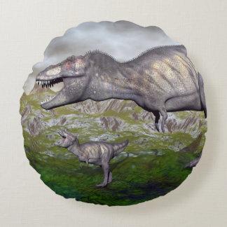 Tyrannosaurus rex dinosaur mum and baby- 3D render Round Pillow