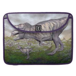 Tyrannosaurus rex dinosaur mum and baby- 3D render Sleeve For MacBooks