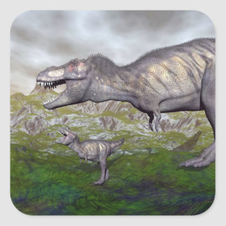 Tyrannosaurus rex dinosaur mum and baby- 3D render Square Sticker