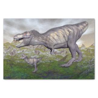 Tyrannosaurus rex dinosaur mum and baby- 3D render Tissue Paper