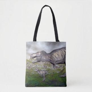 Tyrannosaurus rex dinosaur mum and baby- 3D render Tote Bag