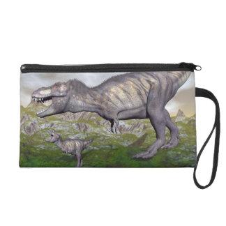 Tyrannosaurus rex dinosaur mum and baby- 3D render Wristlet Clutches
