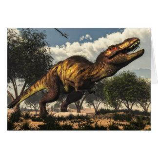 Tyrannosaurus rex dinosaur protecting its eggs card