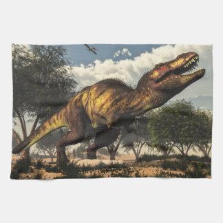 Tyrannosaurus rex dinosaur protecting its eggs kitchen towel