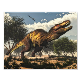 Tyrannosaurus rex dinosaur protecting its eggs photo print
