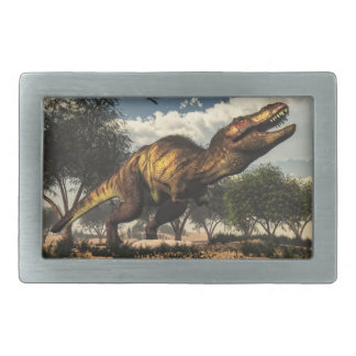 Tyrannosaurus rex dinosaur protecting its eggs rectangular belt buckle