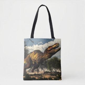 Tyrannosaurus rex dinosaur protecting its eggs tote bag