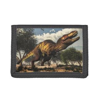 Tyrannosaurus rex dinosaur protecting its eggs trifold wallets