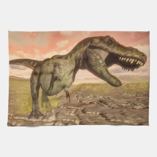 Tyrannosaurus rex dinosaur roaring hand towels