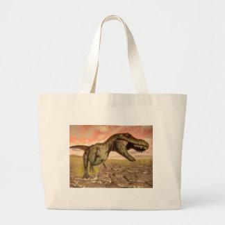 Tyrannosaurus rex dinosaur roaring large tote bag