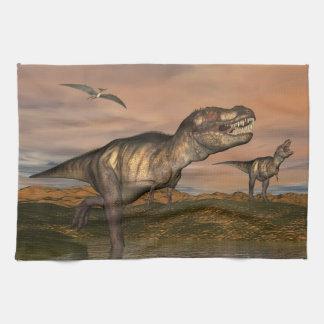 Tyrannosaurus rex dinosaurs - 3D render Kitchen Towel
