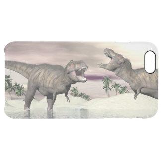 Tyrannosaurus rex dinosaurs fight - 3D render Clear iPhone 6 Plus Case