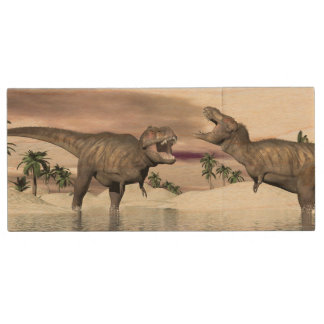 Tyrannosaurus rex dinosaurs fight - 3D render Wood USB Flash Drive