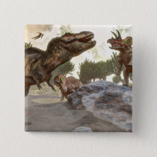 Tyrannosaurus rex escaping from triceratops attack 2 inch square button