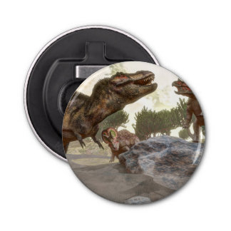 Tyrannosaurus rex escaping from triceratops attack bottle opener