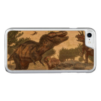 Tyrannosaurus rex escaping from triceratops attack carved iPhone 7 case