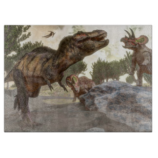Tyrannosaurus rex escaping from triceratops attack cutting board