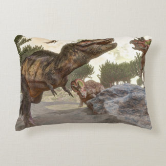 Tyrannosaurus rex escaping from triceratops attack decorative pillow
