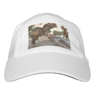 Tyrannosaurus rex escaping from triceratops attack hat