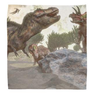 Tyrannosaurus rex escaping from triceratops attack head kerchiefs